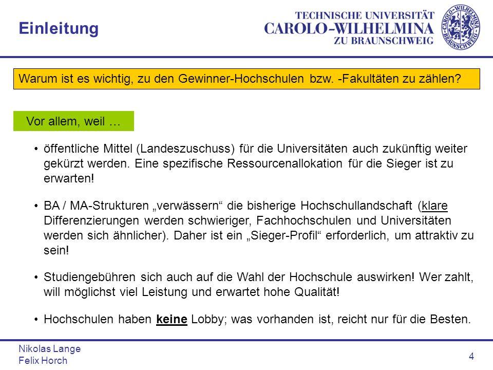 Nikolas Lange Felix Horch 4 Einleitung Warum ist es wichtig, zu den Gewinner-Hochschulen bzw. -Fakultäten zu zählen? Vor allem, weil … öffentliche Mit