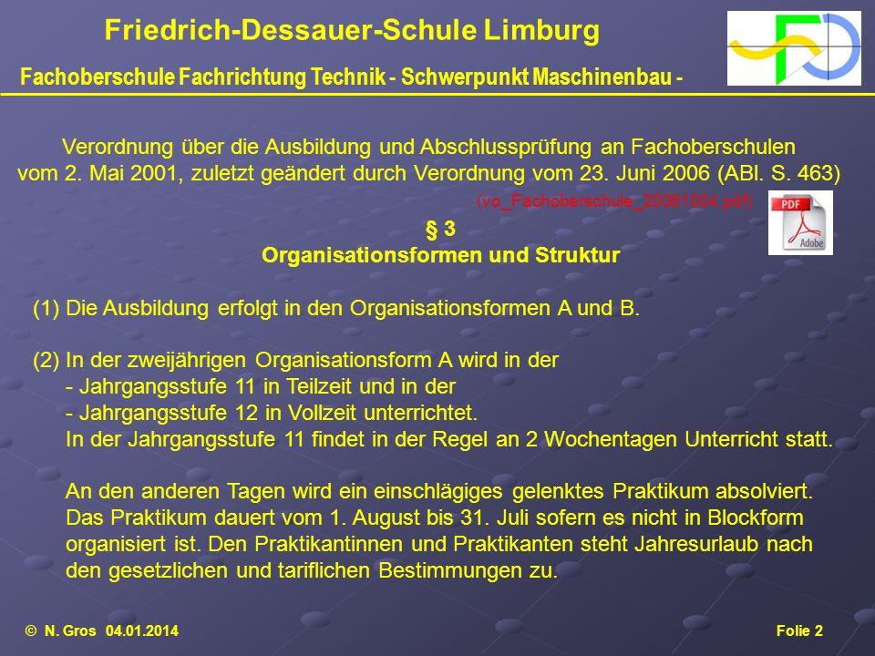 © N. Gros 04.01.2014Folie 2 Friedrich-Dessauer-Schule Limburg Fachoberschule Fachrichtung Technik - Schwerpunkt Maschinenbau - Verordnung über die Aus