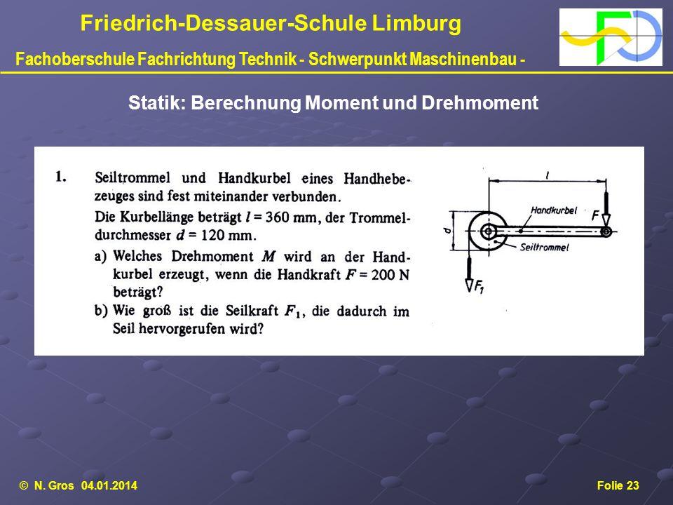 © N. Gros 04.01.2014Folie 23 Friedrich-Dessauer-Schule Limburg Fachoberschule Fachrichtung Technik - Schwerpunkt Maschinenbau - Statik: Berechnung Mom