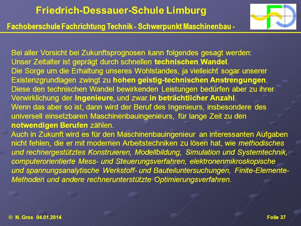 © N. Gros 04.01.2014Folie 37 Friedrich-Dessauer-Schule Limburg Fachoberschule Fachrichtung Technik - Schwerpunkt Maschinenbau - Bei aller Vorsicht bei