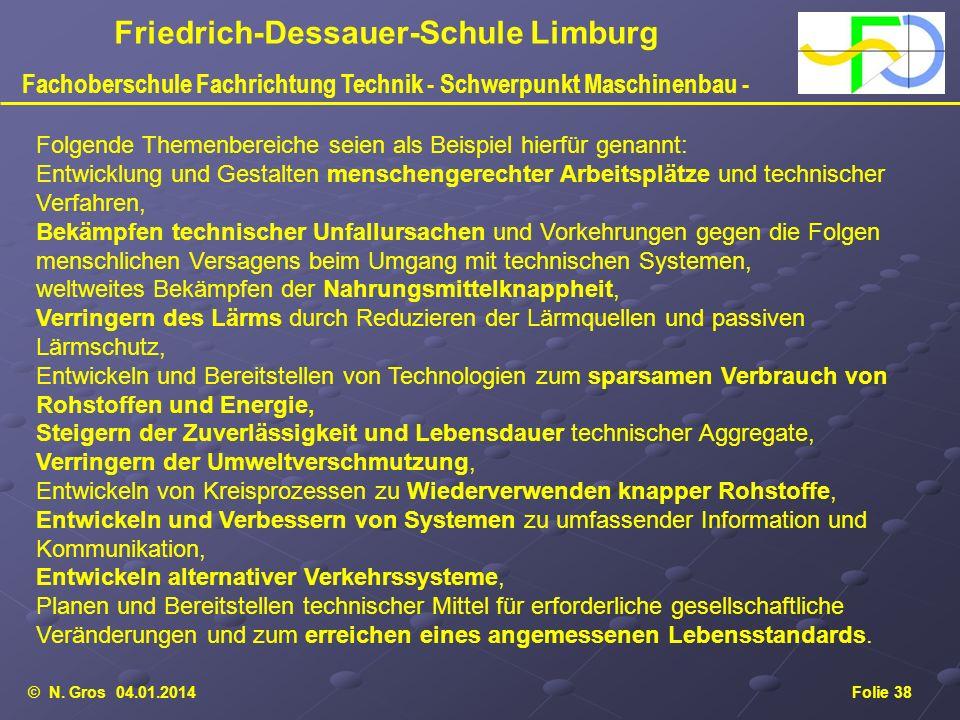 © N. Gros 04.01.2014Folie 38 Friedrich-Dessauer-Schule Limburg Fachoberschule Fachrichtung Technik - Schwerpunkt Maschinenbau - Folgende Themenbereich