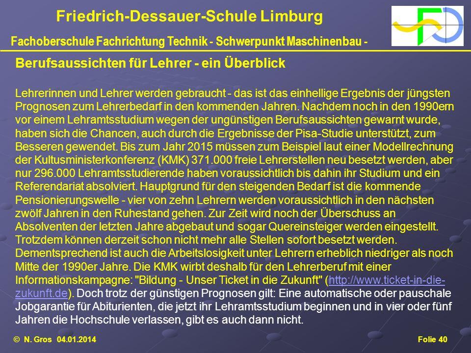 © N. Gros 04.01.2014Folie 40 Friedrich-Dessauer-Schule Limburg Fachoberschule Fachrichtung Technik - Schwerpunkt Maschinenbau - Berufsaussichten für L