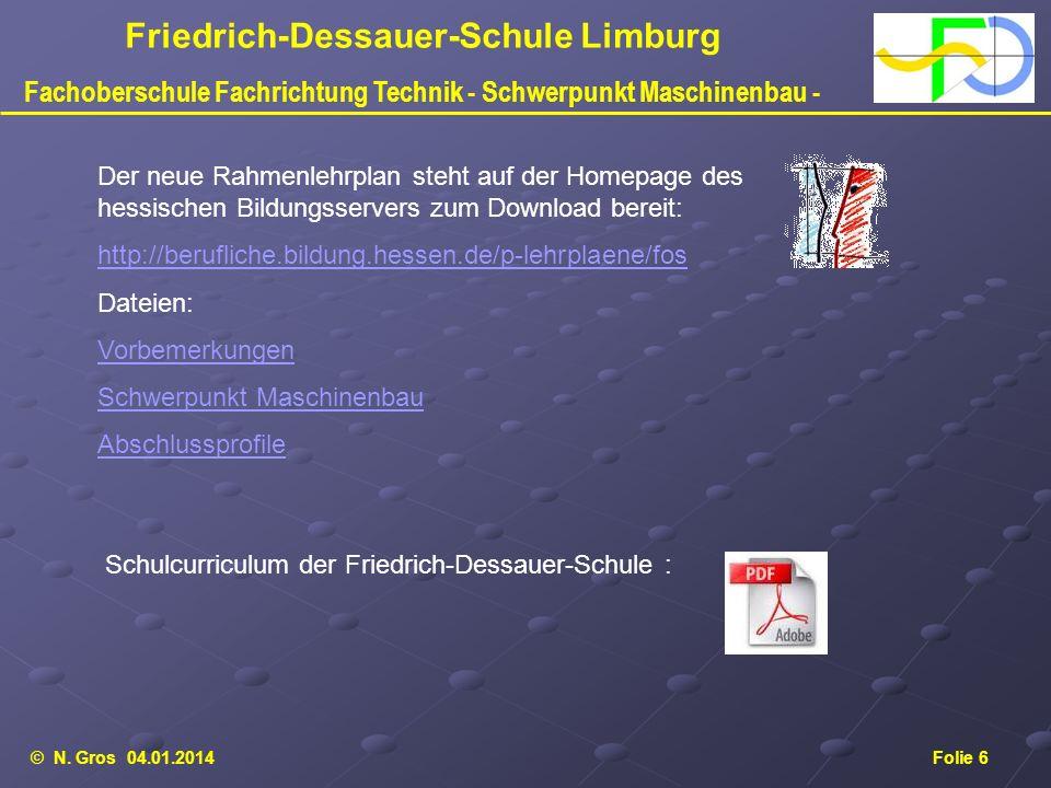 © N. Gros 04.01.2014Folie 6 Friedrich-Dessauer-Schule Limburg Fachoberschule Fachrichtung Technik - Schwerpunkt Maschinenbau - Der neue Rahmenlehrplan