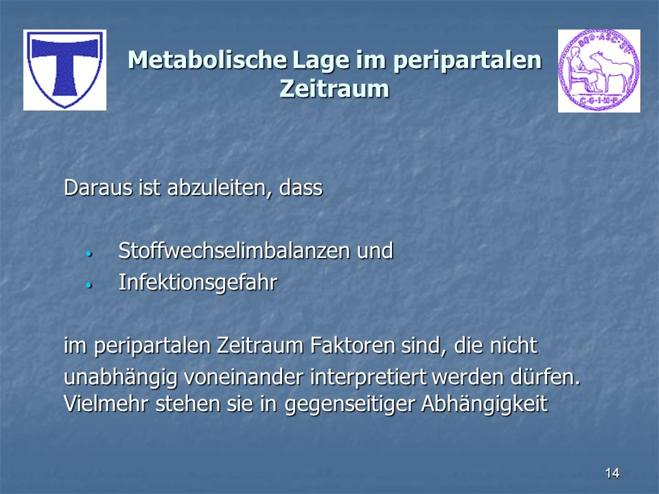 14 Metabolische Lage im peripartalen Zeitraum Daraus ist abzuleiten, dass Stoffwechselimbalanzen und Stoffwechselimbalanzen und Infektionsgefahr Infek