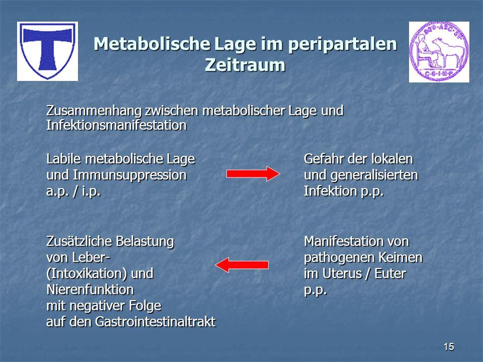 15 Metabolische Lage im peripartalen Zeitraum Zusammenhang zwischen metabolischer Lage und Infektionsmanifestation Labile metabolische LageGefahr der