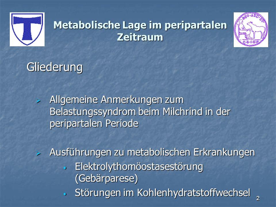 3 Metabolische Lage im peripartalen Zeitraum Im letzten Trimester der Gravidität, unter der Geburt sowie in den ersten Wochen der Laktation besteht besonders beim Milchrind, aber auch eingeschränkt beim Fleischrind, eine labile Stoffwechsellage