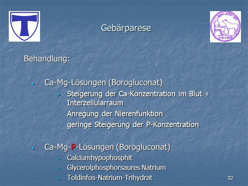 32 Gebärparese Behandlung: Ca-Mg-Lösungen (Borogluconat) Ca-Mg-Lösungen (Borogluconat) Steigerung der Ca-Konzentration im Blut + Interzellularraum Ste