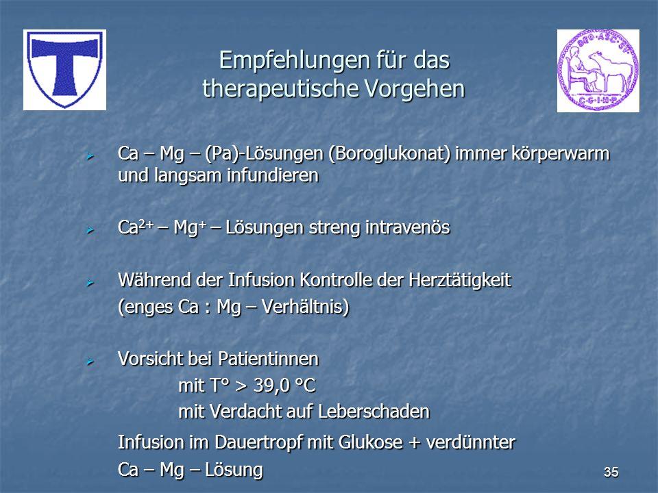 35 Empfehlungen für das therapeutische Vorgehen Ca – Mg – (Pa)-Lösungen (Boroglukonat) immer körperwarm und langsam infundieren Ca – Mg – (Pa)-Lösunge