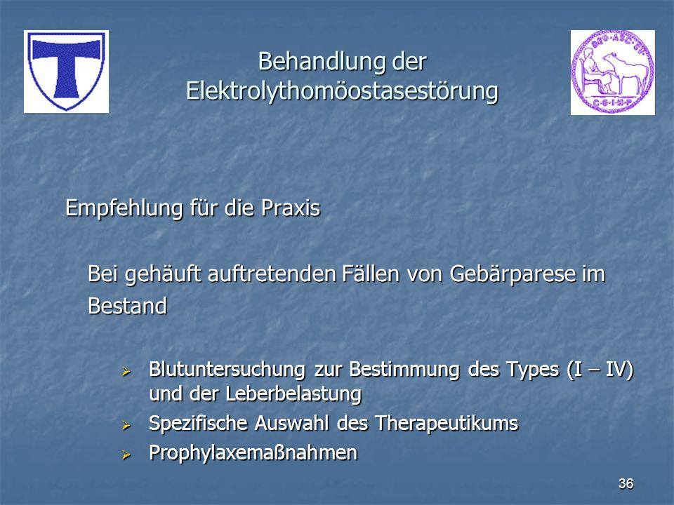 36 Behandlung der Elektrolythomöostasestörung Empfehlung für die Praxis Bei gehäuft auftretenden Fällen von Gebärparese im Bestand Blutuntersuchung zu