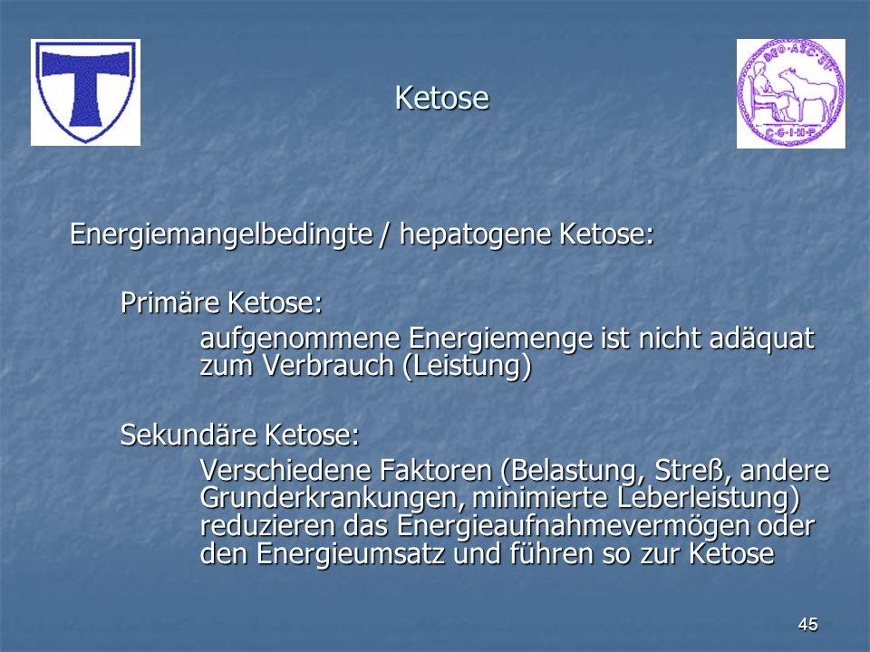 45 Ketose Energiemangelbedingte / hepatogene Ketose: Primäre Ketose: aufgenommene Energiemenge ist nicht adäquat zum Verbrauch (Leistung) Sekundäre Ke