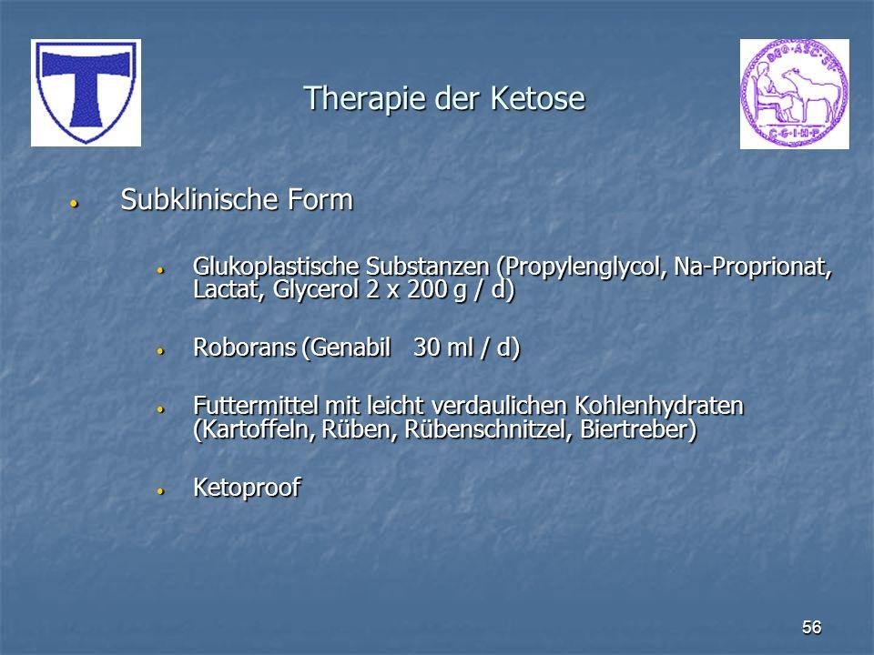 56 Therapie der Ketose Subklinische Form Subklinische Form Glukoplastische Substanzen (Propylenglycol, Na-Proprionat, Lactat, Glycerol 2 x 200 g / d)