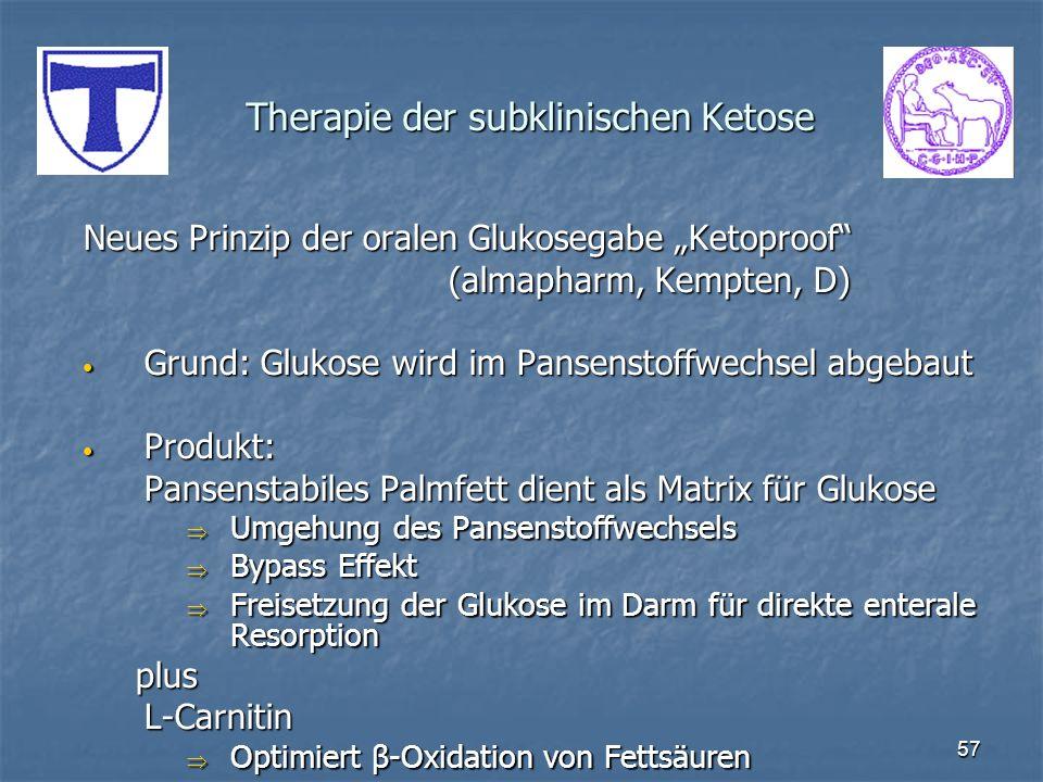 57 Therapie der subklinischen Ketose Neues Prinzip der oralen Glukosegabe Ketoproof (almapharm, Kempten, D) Grund: Glukose wird im Pansenstoffwechsel