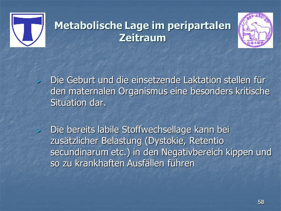 58 Metabolische Lage im peripartalen Zeitraum Die Geburt und die einsetzende Laktation stellen für den maternalen Organismus eine besonders kritische
