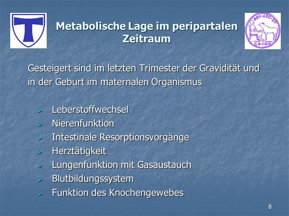 8 Metabolische Lage im peripartalen Zeitraum Gesteigert sind im letzten Trimester der Gravidität und in der Geburt im maternalen Organismus Leberstoff