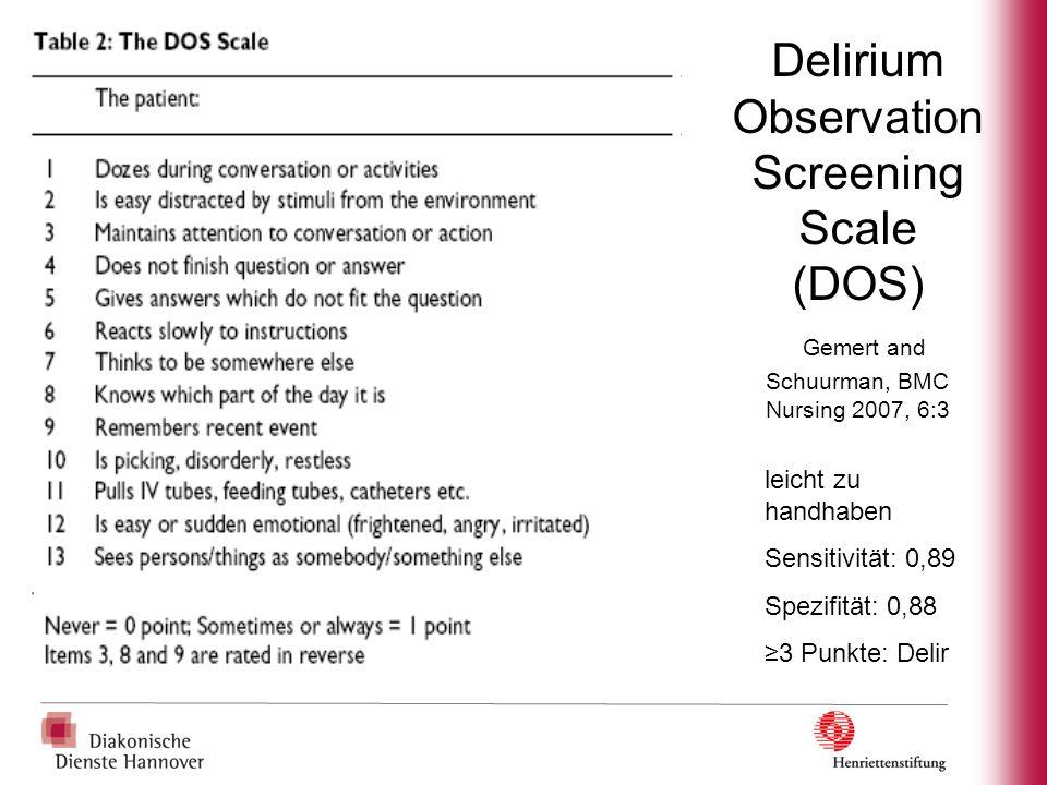 Delirium Observation Screening Scale (DOS) Gemert and Schuurman, BMC Nursing 2007, 6:3 leicht zu handhaben Sensitivität: 0,89 Spezifität: 0,88 3 Punkt