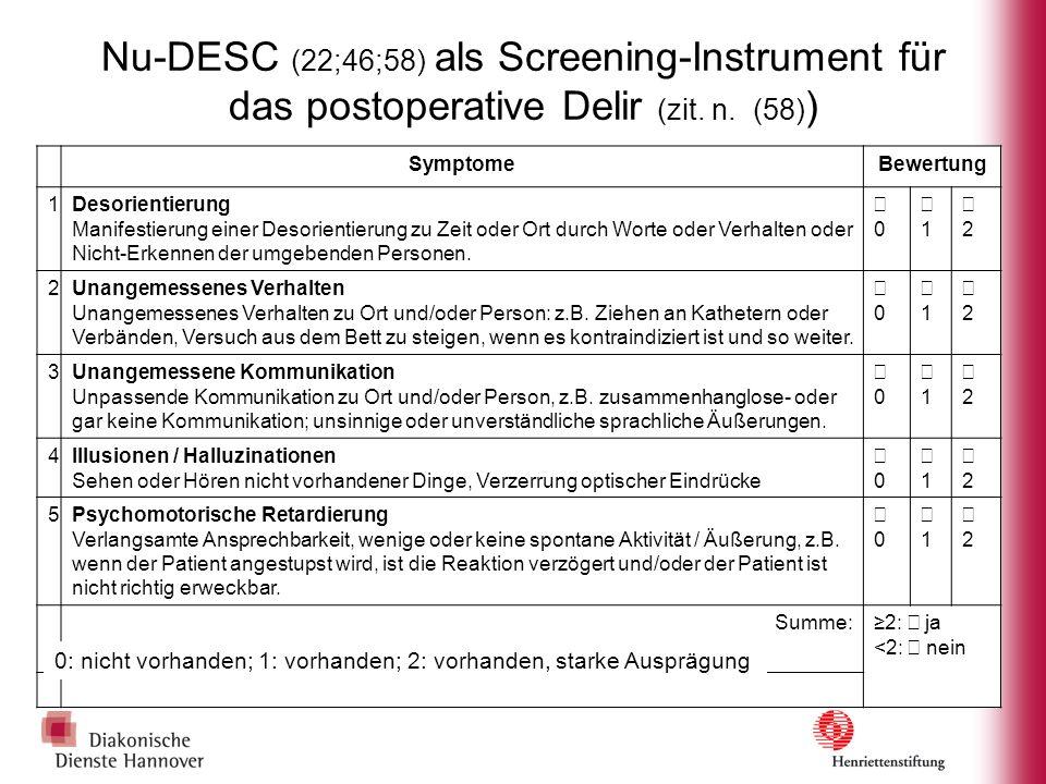 Nu-DESC (22;46;58) als Screening-Instrument für das postoperative Delir (zit. n. (58) ) SymptomeBewertung 1Desorientierung Manifestierung einer Desori