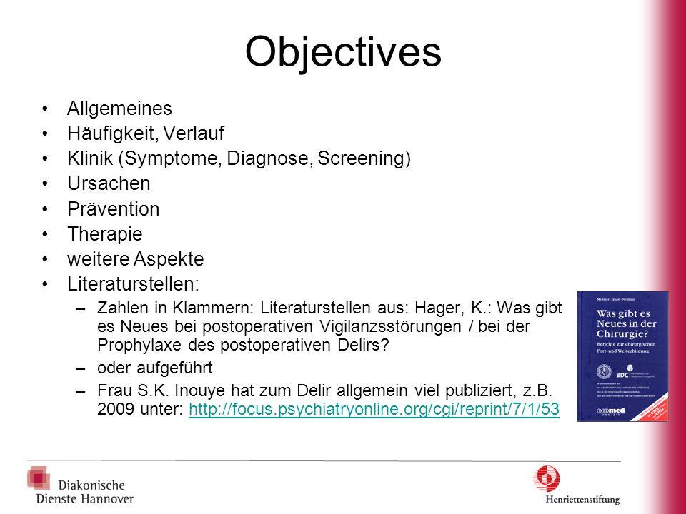 Objectives Allgemeines Häufigkeit, Verlauf Klinik (Symptome, Diagnose, Screening) Ursachen Prävention Therapie weitere Aspekte Literaturstellen: –Zahl