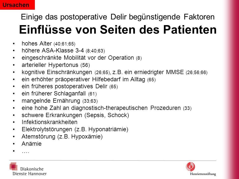Einige das postoperative Delir begünstigende Faktoren Einflüsse von Seiten des Patienten hohes Alter (40;61;65) höhere ASA-Klasse 3-4 (8;40;63) einges