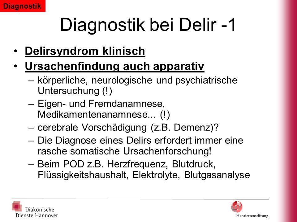 Diagnostik bei Delir -1 Delirsyndrom klinisch Ursachenfindung auch apparativ –körperliche, neurologische und psychiatrische Untersuchung (!) –Eigen- u
