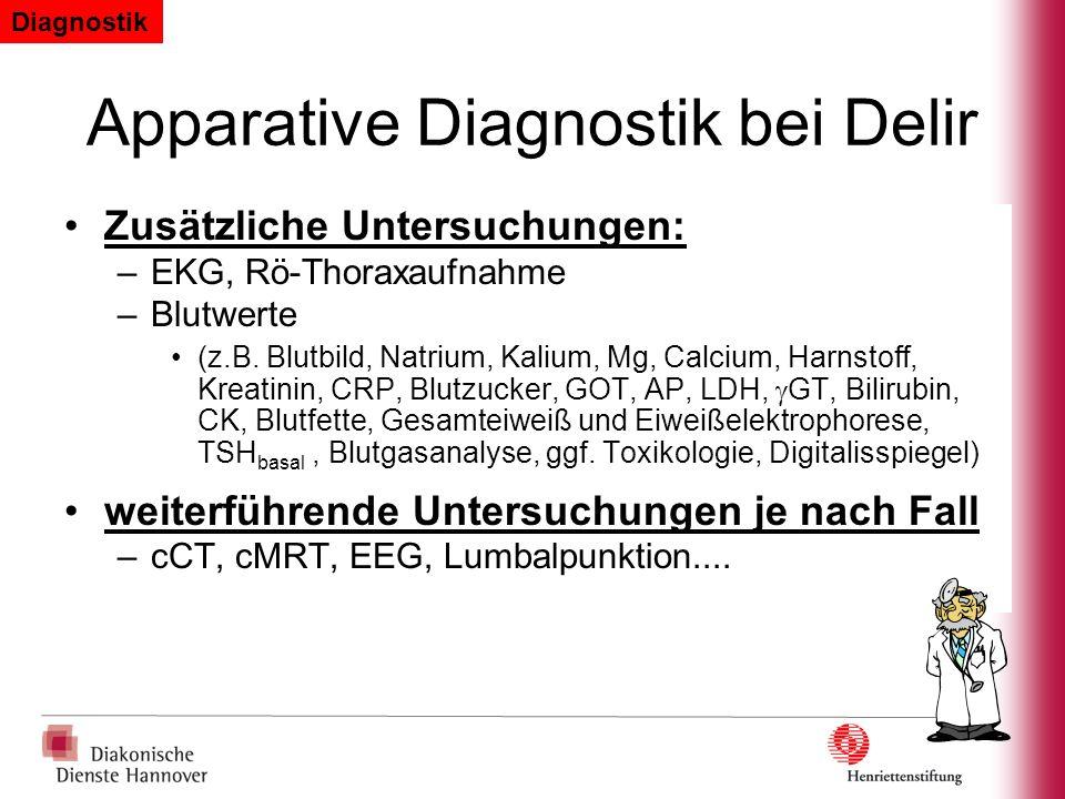 Apparative Diagnostik bei Delir Zusätzliche Untersuchungen: –EKG, Rö-Thoraxaufnahme –Blutwerte (z.B. Blutbild, Natrium, Kalium, Mg, Calcium, Harnstoff