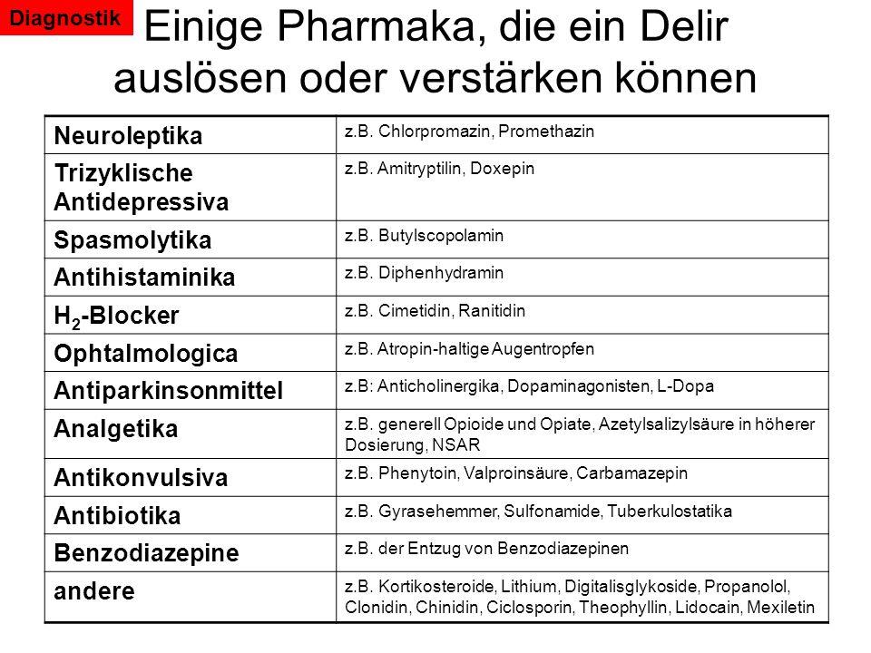 Einige Pharmaka, die ein Delir auslösen oder verstärken können Neuroleptika z.B. Chlorpromazin, Promethazin Trizyklische Antidepressiva z.B. Amitrypti
