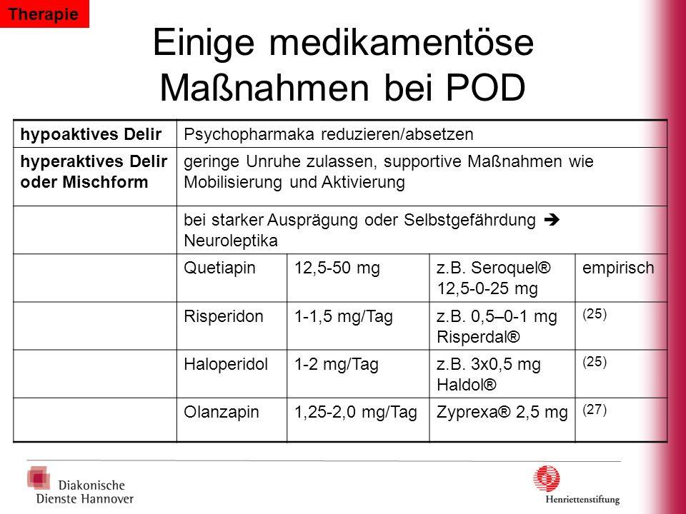 Einige medikamentöse Maßnahmen bei POD hypoaktives DelirPsychopharmaka reduzieren/absetzen hyperaktives Delir oder Mischform geringe Unruhe zulassen,