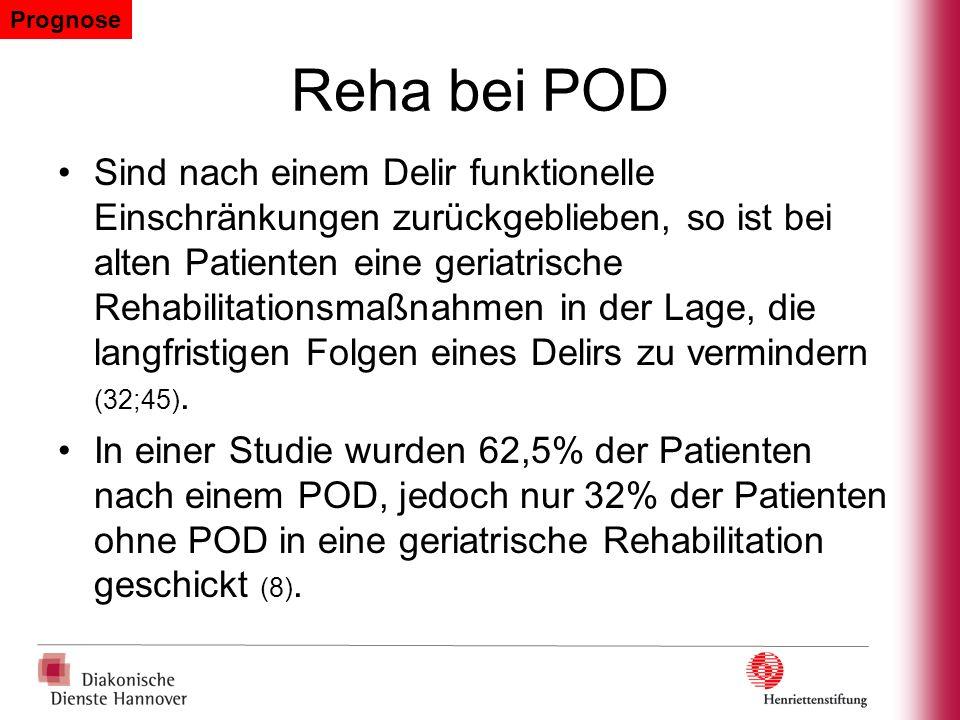 Reha bei POD Sind nach einem Delir funktionelle Einschränkungen zurückgeblieben, so ist bei alten Patienten eine geriatrische Rehabilitationsmaßnahmen
