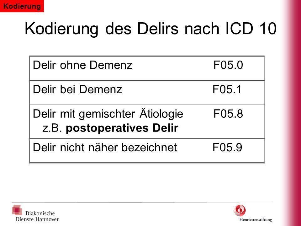 Kodierung des Delirs nach ICD 10 Delir ohne DemenzF05.0 Delir bei Demenz F05.1 Delir mit gemischter ÄtiologieF05.8 z.B. postoperatives Delir Delir nic