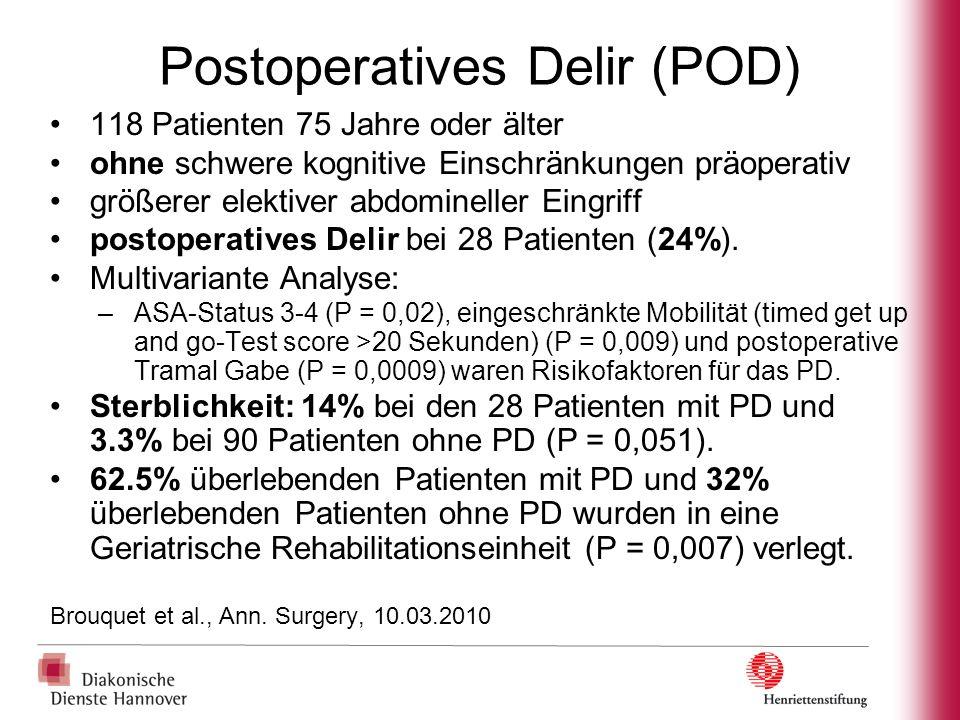 Postoperatives Delir (POD) 118 Patienten 75 Jahre oder älter ohne schwere kognitive Einschränkungen präoperativ größerer elektiver abdomineller Eingri