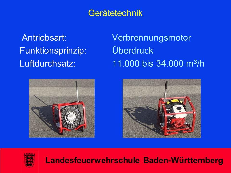 Landesfeuerwehrschule Baden-Württemberg Gerätetechnik Antriebsart: Verbrennungsmotor Funktionsprinzip: Überdruck Luftdurchsatz: 11.000 bis 34.000 m 3