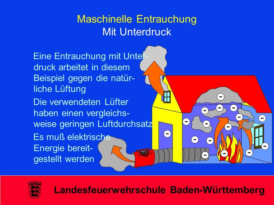 Landesfeuerwehrschule Baden-Württemberg Maschinelle Entrauchung Mit Unterdruck Eine Entrauchung mit Unter- druck arbeitet in diesem Beispiel gegen die