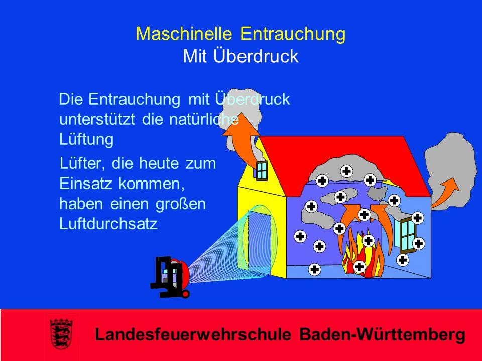 Landesfeuerwehrschule Baden-Württemberg Maschinelle Entrauchung Mit Überdruck Die Entrauchung mit Überdruck unterstützt die natürliche Lüftung Lüfter,