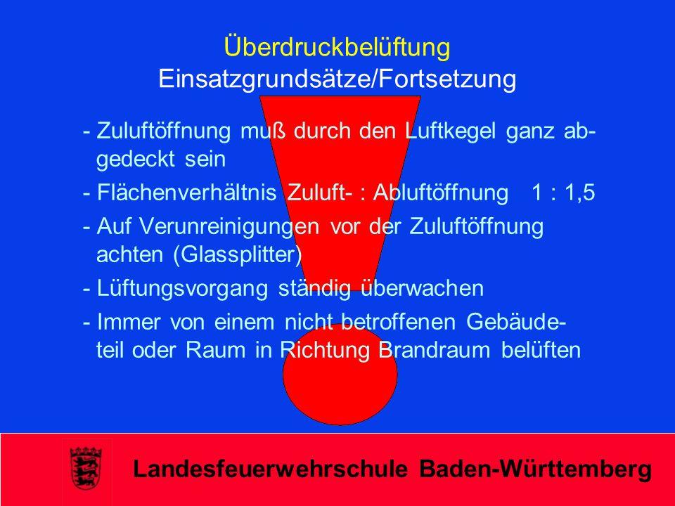 Landesfeuerwehrschule Baden-Württemberg Überdruckbelüftung Einsatzgrundsätze/Fortsetzung - Zuluftöffnung muß durch den Luftkegel ganz ab- gedeckt sein