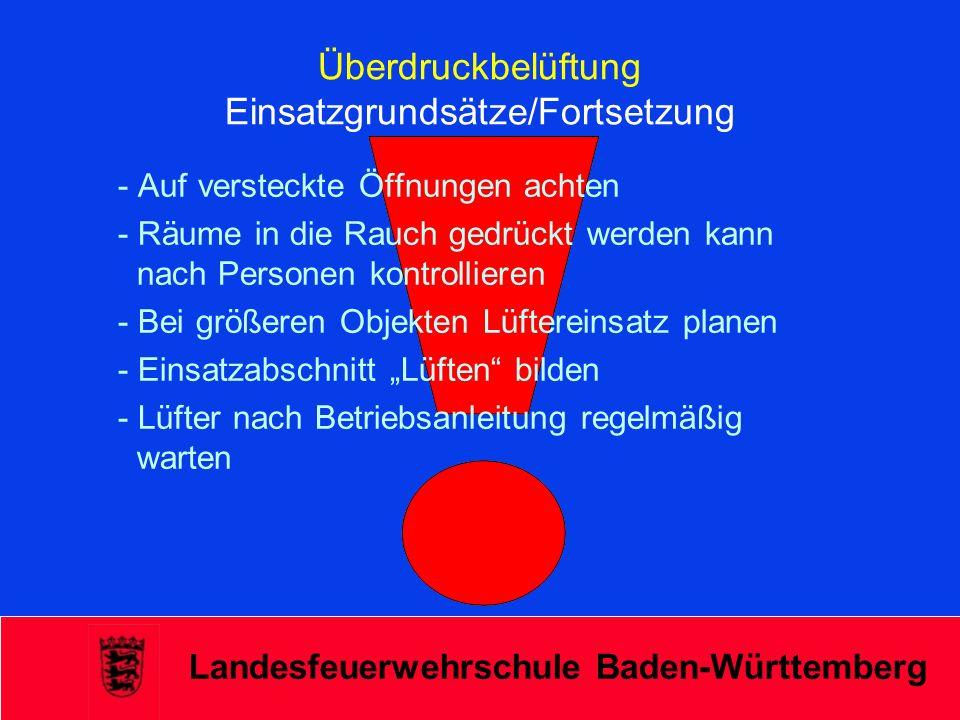 Landesfeuerwehrschule Baden-Württemberg Überdruckbelüftung Einsatzgrundsätze/Fortsetzung - Auf versteckte Öffnungen achten - Räume in die Rauch gedrüc