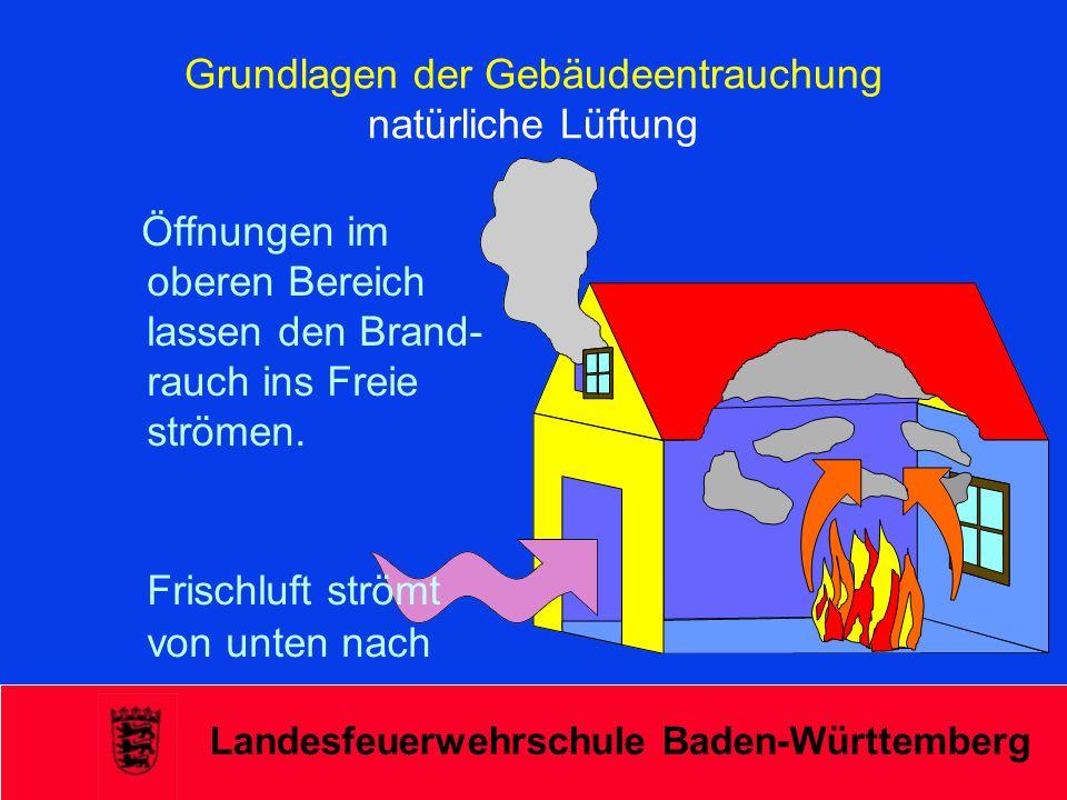 Landesfeuerwehrschule Baden-Württemberg Überdruckbelüftung Einsatzgrundsätze/Fortsetzung - Auf versteckte Öffnungen achten - Räume in die Rauch gedrückt werden kann nach Personen kontrollieren - Bei größeren Objekten Lüftereinsatz planen - Einsatzabschnitt Lüften bilden - Lüfter nach Betriebsanleitung regelmäßig warten