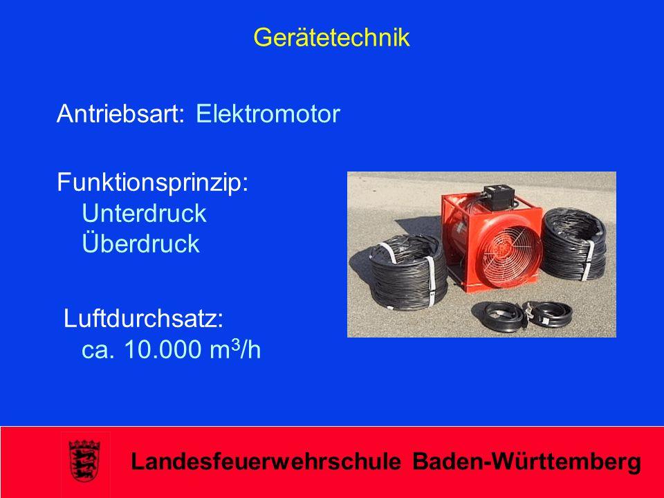 Landesfeuerwehrschule Baden-Württemberg Gerätetechnik Antriebsart: Wasserturbine Funktionsprinzip: Überdruck Luftdurchsatz: 23.000 bis 50.000 m 3 /h