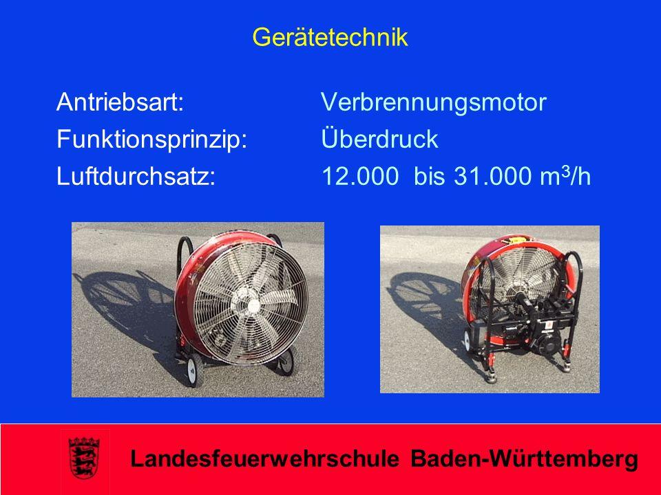 Landesfeuerwehrschule Baden-Württemberg Gerätetechnik Antriebsart: Verbrennungsmotor Funktionsprinzip: Überdruck Luftdurchsatz: 12.000 bis 31.000 m 3