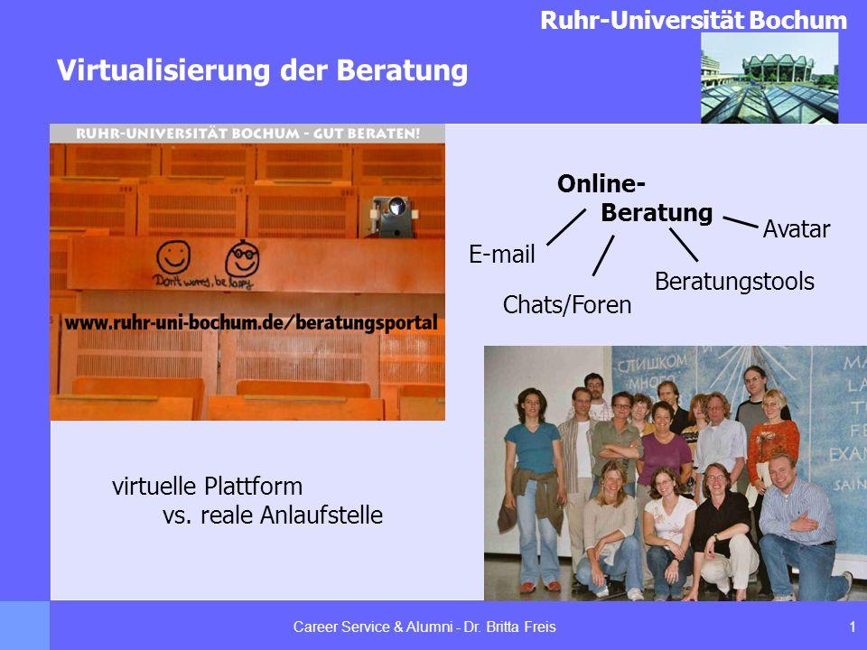 Ruhr-Universität Bochum Virtualisierung der Beratung 1Career Service & Alumni - Dr. Britta Freis Chats/Foren Online- Beratung virtuelle Plattform vs.