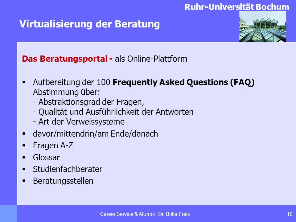 Ruhr-Universität Bochum Virtualisierung der Beratung 10Career Service & Alumni - Dr. Britta Freis Das Beratungsportal - als Online-Plattform Aufbereit