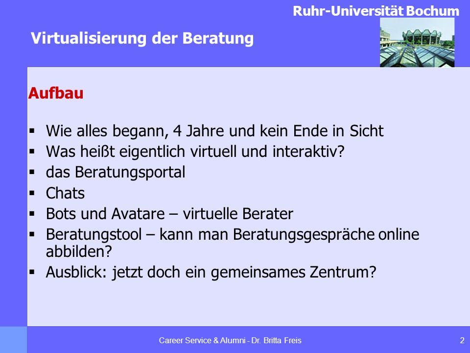 Ruhr-Universität Bochum Virtualisierung der Beratung 2Career Service & Alumni - Dr. Britta Freis Aufbau Wie alles begann, 4 Jahre und kein Ende in Sic