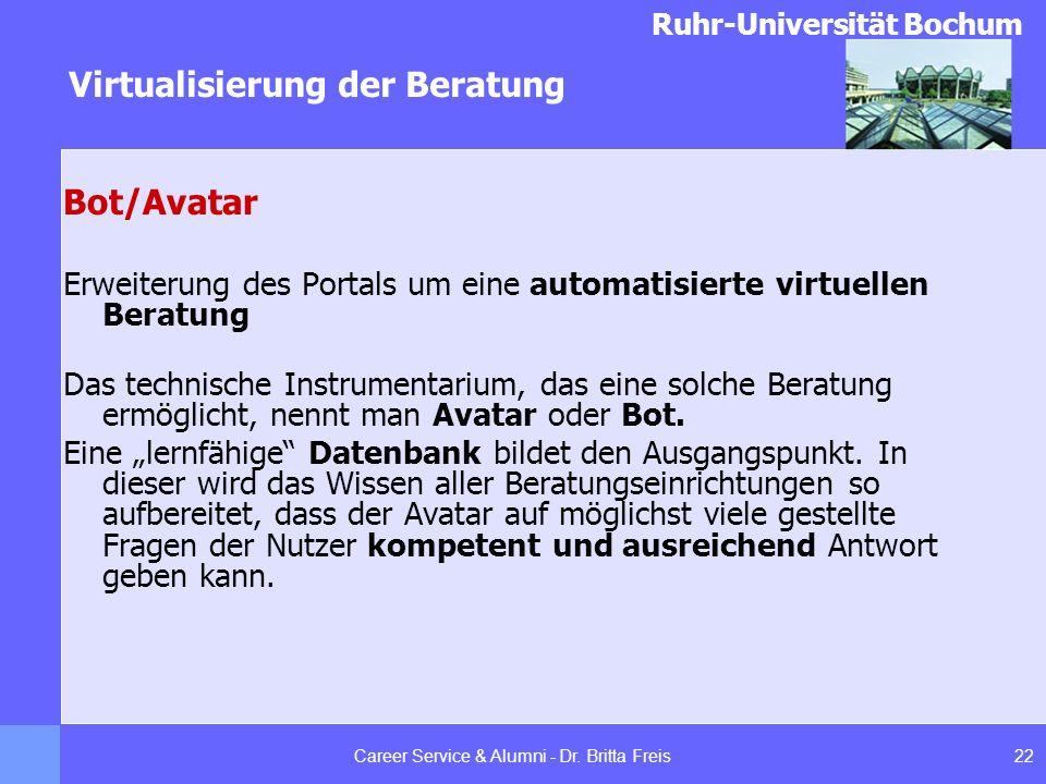 Ruhr-Universität Bochum Virtualisierung der Beratung 22Career Service & Alumni - Dr. Britta Freis Bot/Avatar Erweiterung des Portals um eine automatis
