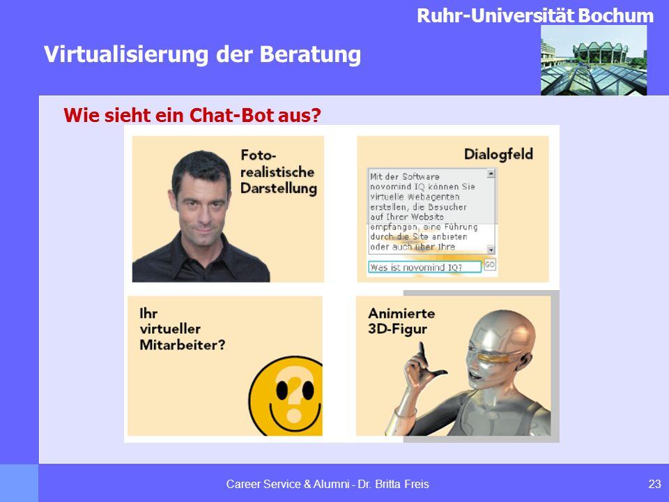 Ruhr-Universität Bochum Virtualisierung der Beratung 23Career Service & Alumni - Dr. Britta Freis Wie sieht ein Chat-Bot aus?