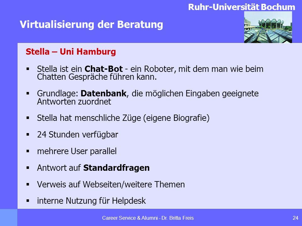 Ruhr-Universität Bochum Virtualisierung der Beratung 24Career Service & Alumni - Dr. Britta Freis Stella – Uni Hamburg Stella ist ein Chat-Bot - ein R