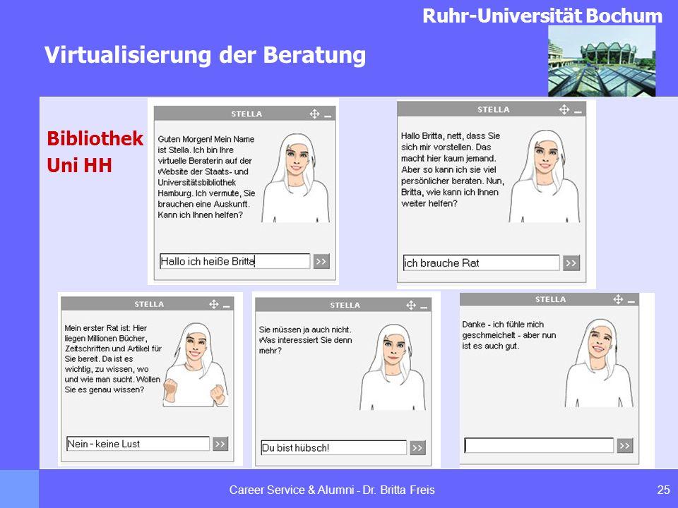 Ruhr-Universität Bochum Virtualisierung der Beratung 25Career Service & Alumni - Dr. Britta Freis Bibliothek Uni HH