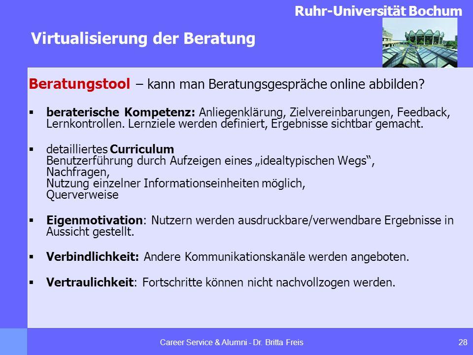 Ruhr-Universität Bochum Virtualisierung der Beratung 28Career Service & Alumni - Dr. Britta Freis Beratungstool – kann man Beratungsgespräche online a