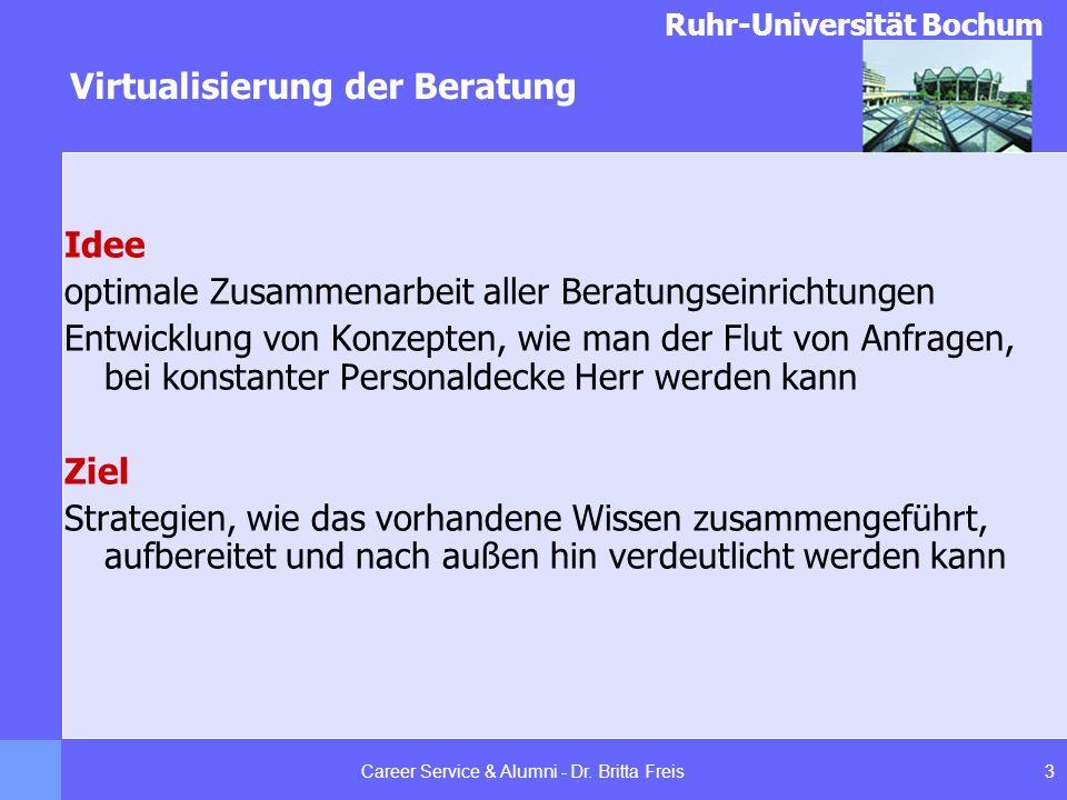 Ruhr-Universität Bochum Virtualisierung der Beratung 3Career Service & Alumni - Dr. Britta Freis Idee optimale Zusammenarbeit aller Beratungseinrichtu