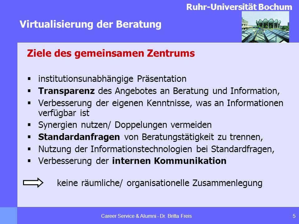 Ruhr-Universität Bochum Virtualisierung der Beratung 5Career Service & Alumni - Dr. Britta Freis Ziele des gemeinsamen Zentrums institutionsunabhängig