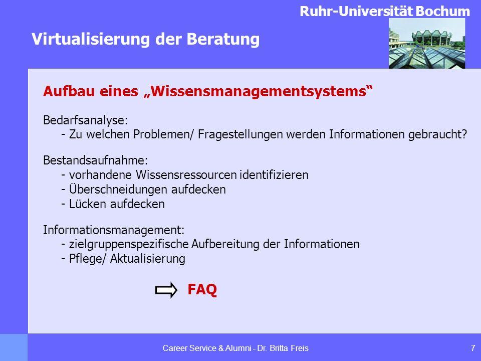 Ruhr-Universität Bochum Virtualisierung der Beratung 7Career Service & Alumni - Dr. Britta Freis Aufbau eines Wissensmanagementsystems Bedarfsanalyse: