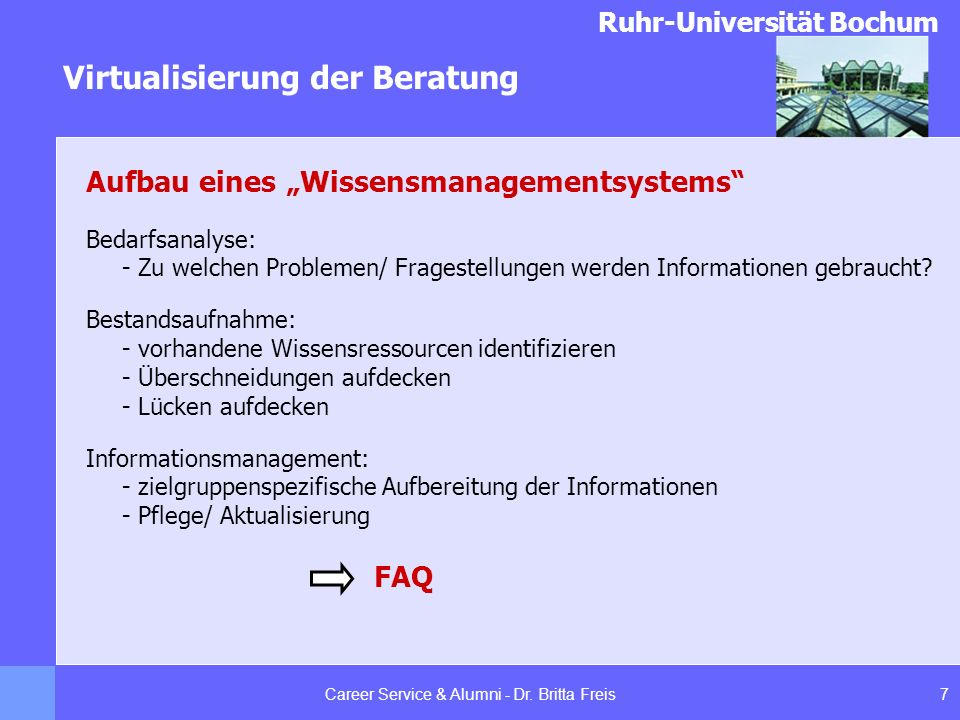 Ruhr-Universität Bochum Virtualisierung der Beratung 8Career Service & Alumni - Dr.
