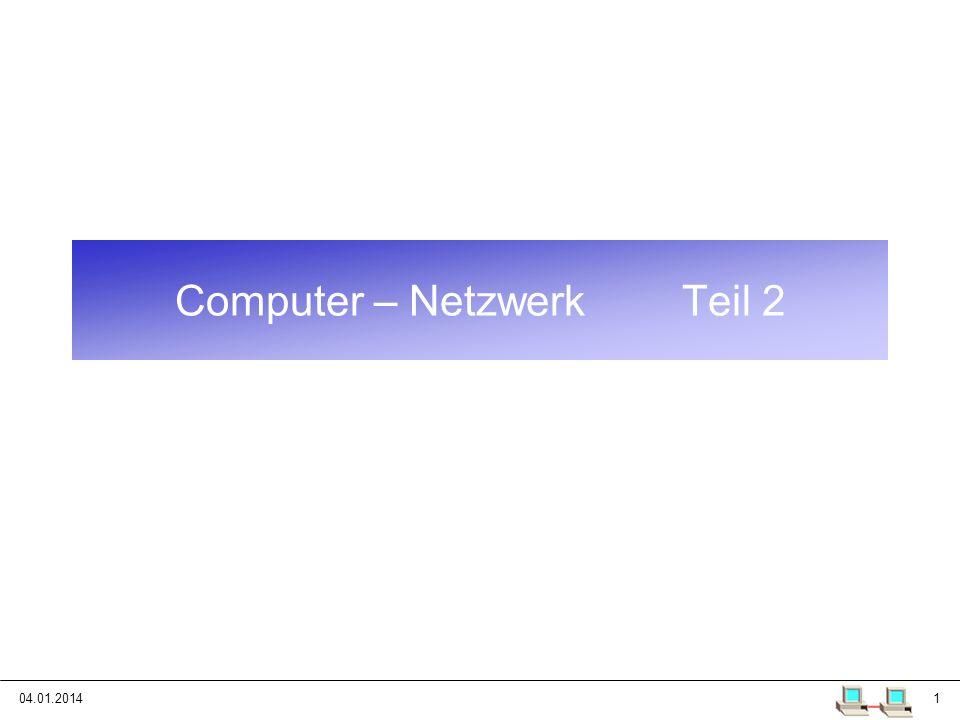 04.01.201412 Port Ein Port ist eine Nummer 0 – 65535 (2 16 – 1), die einen bestimmten netzwerk-fähigen Prozess, der eine TCP/IP Verbindung aufgebaut hat, identifiziert.
